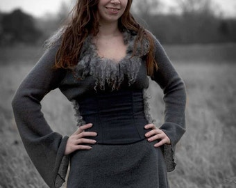 Ravn long straight Woolen Viking skirt with a high waistline and Viking Ornaments.