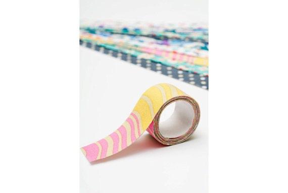 Sticky Adhesive Fabric Tape, Japanese Washi Tape - Pink Yellow Grey Waves