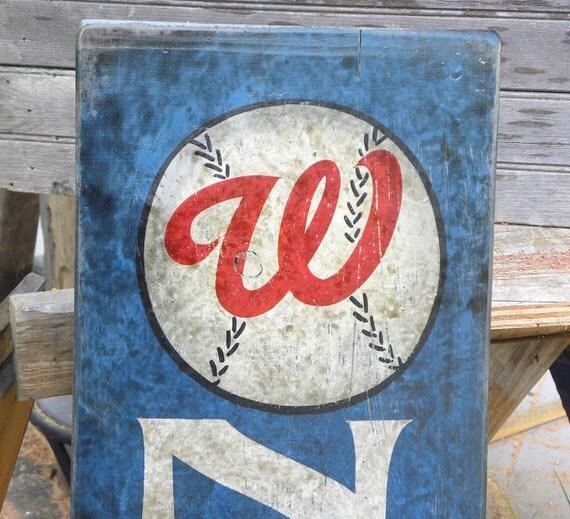 Washington Nationals Vintage Baseball Sign Hand Painted