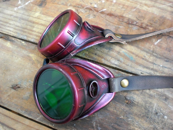 Steampunk Aviator Goggles darkened crimson with green lens and aged leather straps