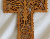 Scroll Saw Wood Carved Hanging Cross