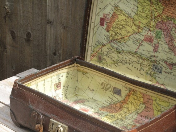vintage suitcase decoupaged with a vintage world map