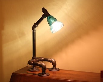 Glass Insulator Desk Lamp Retro-Industrial Styling