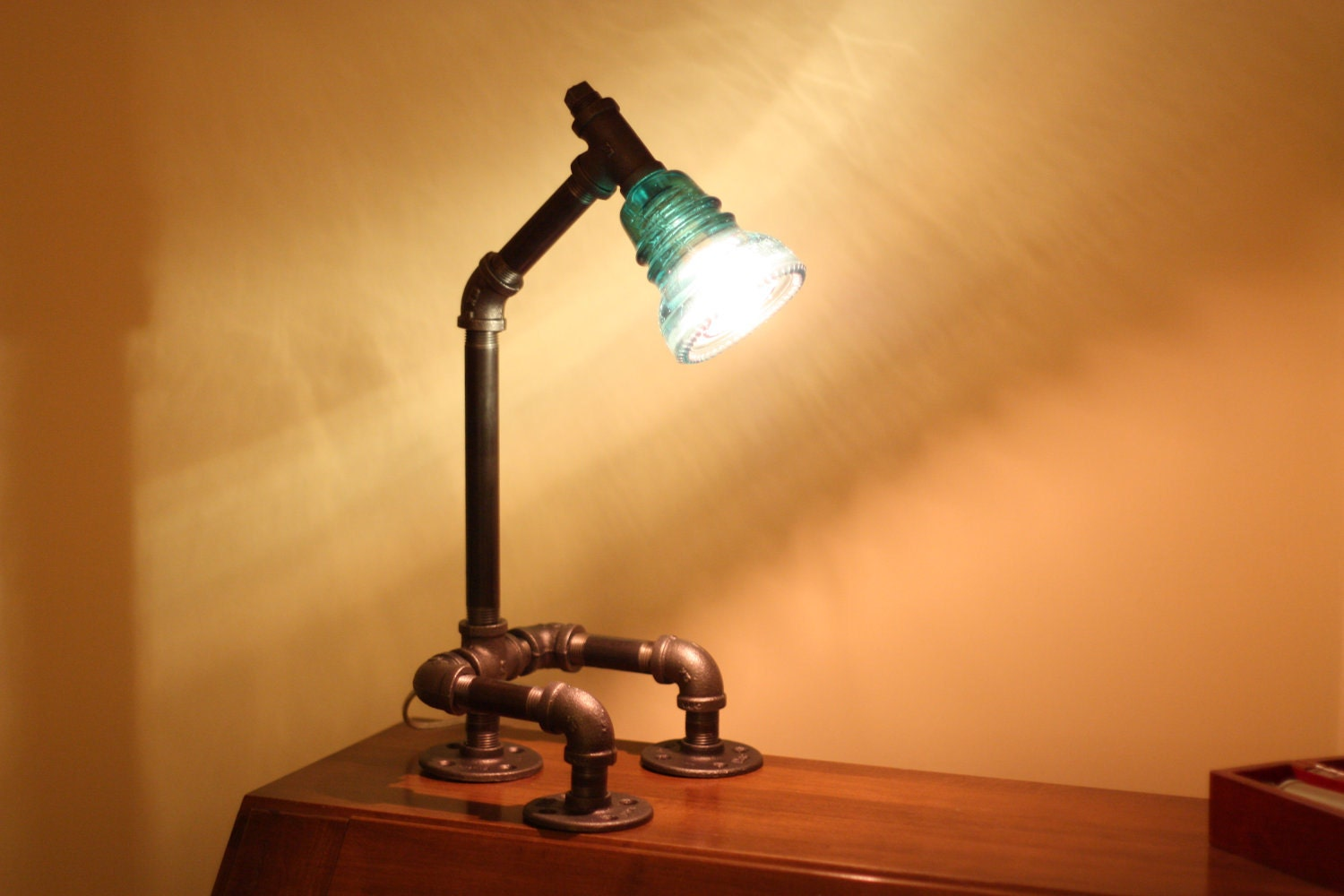 glass insulator desk lamp retro industrial styling