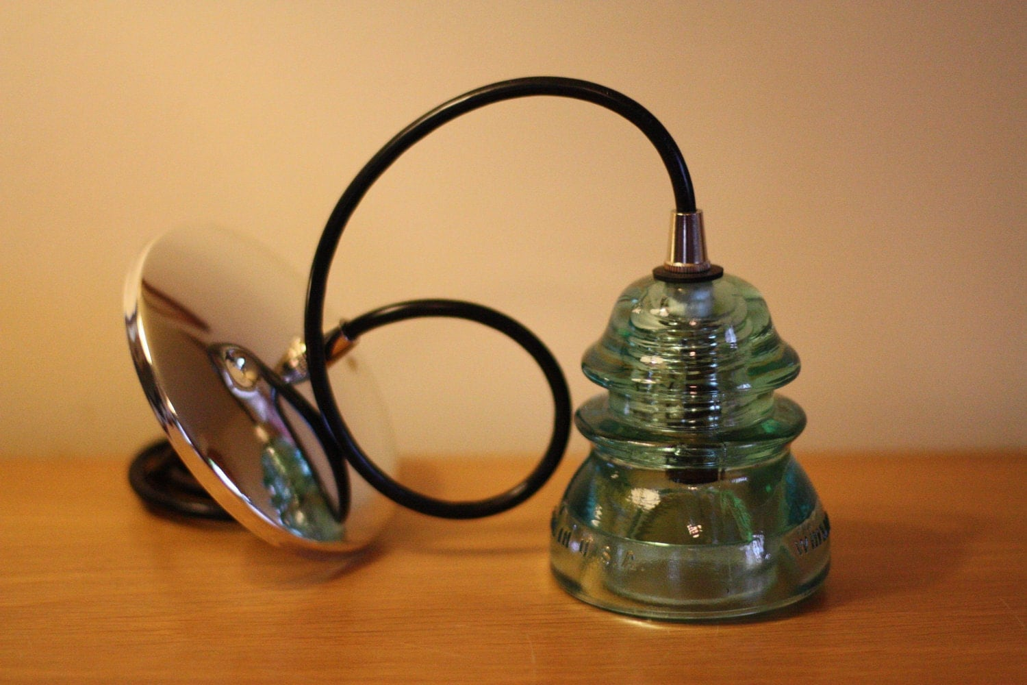 Glass insulator pendant lamp by luceantica on etsy for Insulator pendant light