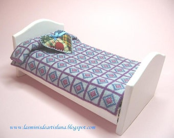 OOAK Children Bed with Embroidered cross stitch quilt, furniture miniature, quilt miniature - Dollhouses Miniature fourniture scale 1:12