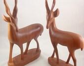 Midcentury 60s hand carved teak antelope figurines