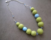 SALE- Bold Felted Kiwi Green and Blue Necklace