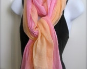Pink and Peach Cotton Scarf - hand dyed ombre gauze