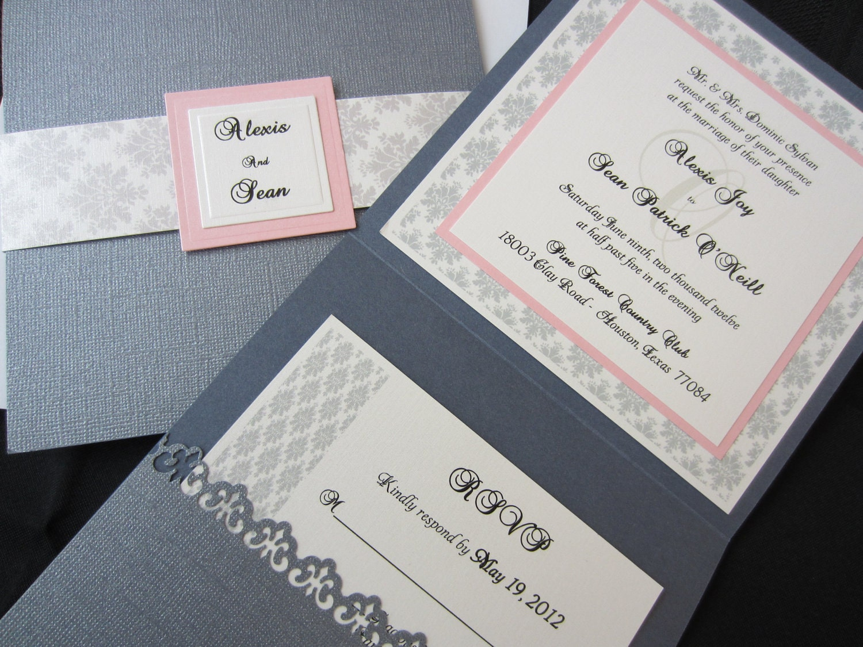 Traditional Elegant Wedding Invitations: Alexis Elegant Wedding Invitation Damask Wedding Traditional