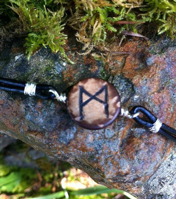 Mannaz Rune Bracelet - Wooden Bead and Leather Cord