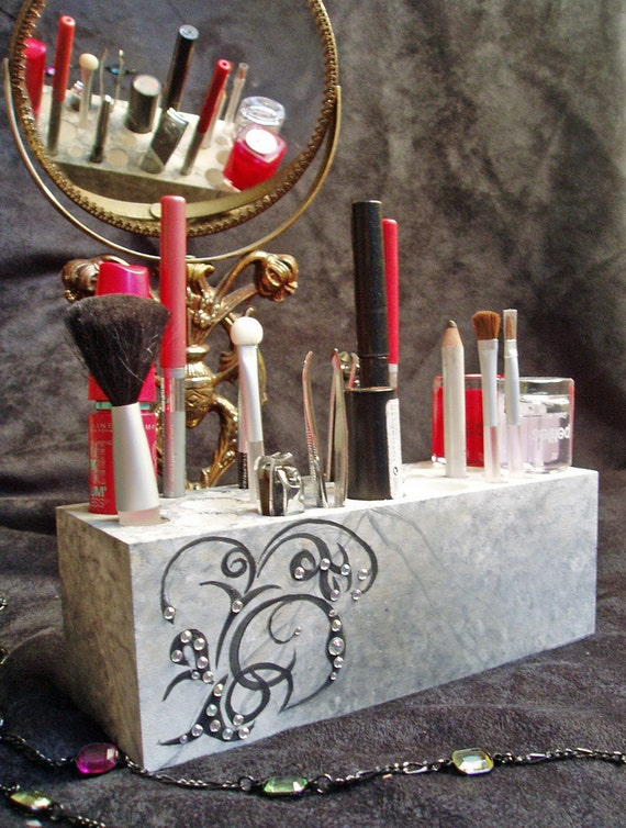 Handmade Wooden Makeup Brush Holder & Bathroom Organizer -  Black and White Scroll