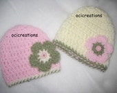 Crochet Twin Baby Hats Girl Photo Props In Cream Pink Green READY To SHIP Newborn