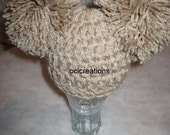 2 Pom Pom Crochet Baby Hat Photo Props In Linen (Beige) READY To SHIP Newborn Chunky