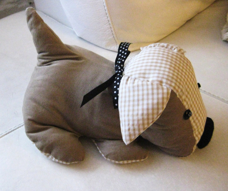 Items similar to handmade cute puppy dog door stop pre filled in beige gingham mink baby cord - Cute door stoppers ...