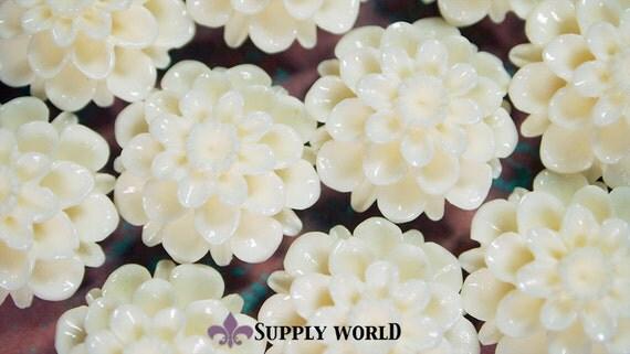 Resin Cabochon - 5pcs - Flower Cabochon - Cream White Flower Cabochon - Cabochon - SW002-1