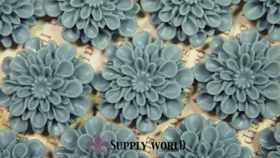 Resin Cabochon - 5pcs - Flower Cabochon - Vintage Blue - Cabochon - SW150-11