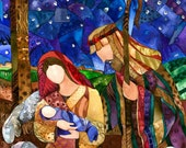 "Giclee reproduction of original watercolor painting ""One Silent Night"" 11""x14"""