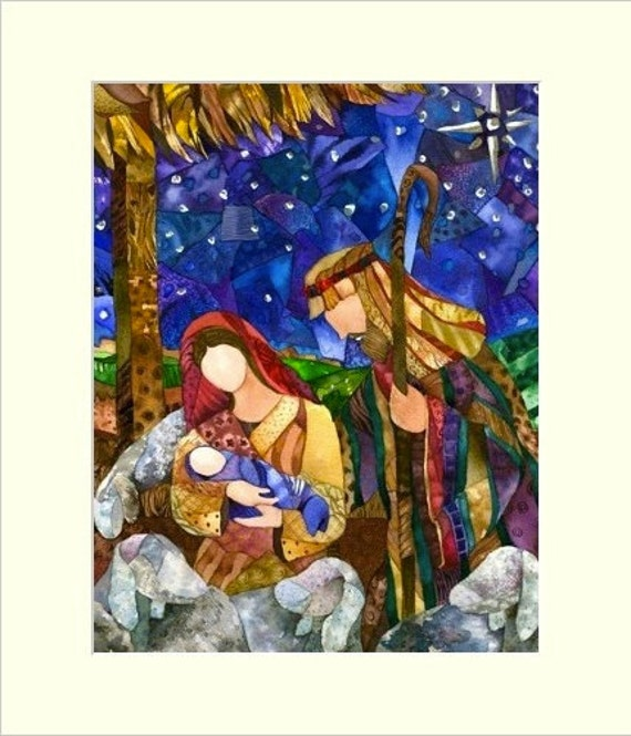 """Matted """"One Silent Night"""" Giclee reproduction of original watercolor painting fits 11""""x14"""" frame"""