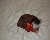 Brown Kufi Hat with Rust Hydranigia, with feather
