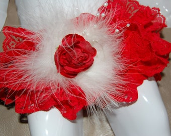 Little Baby in Red Lace Bloomers-Diaper Cover with mathing headband.