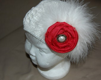 White Croched Kufi Hat with handrolled flower and maribou feather