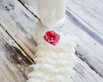 Beautiful White Lace Romper contains, Pink Hydrangia's,pearls and feather embellishments.