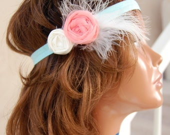 Vintage Style Headband or Clip made with handrolled flowers accented with feathers