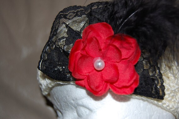 Ivory Valentines Croched Kufi Hat with red handmade flower black lace and black maribou feather