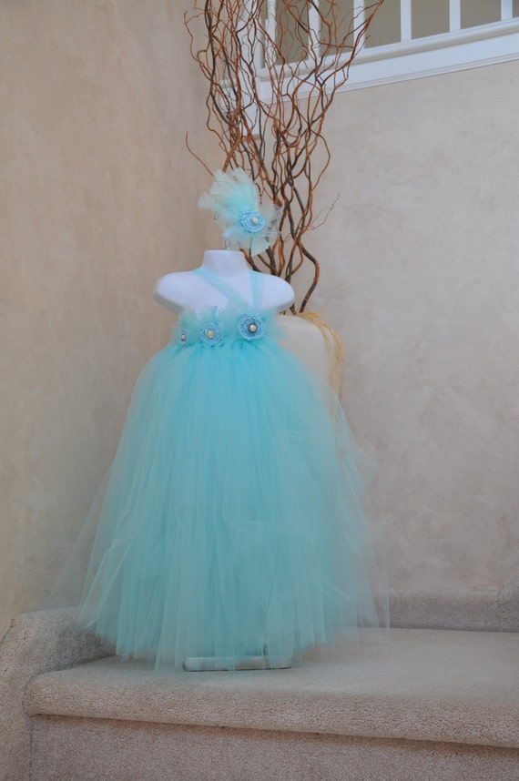 Vintage Collection Aqua Blue tulle dress with  hand rolled rosettes and button embellishments.
