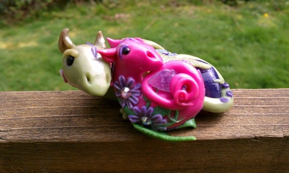 For Eleanor only Ooak polymer clay fairy garden dragon