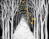 "Butterflies Black and White Trees - Winter Solstice ""Out of the darkness emerges transformation""."
