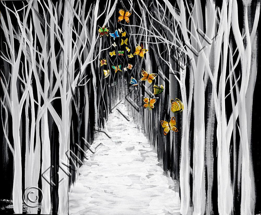 Black And White Trees Butterflies Snow Winter Bare Trees Home