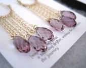14K Gold Filled Antique Pink Swarovski Briolette U Chain Drape Earrings
