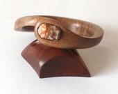 Wooden Bangle, Leopard Jasper, Bracelet, Walnut, Handmade,Wood
