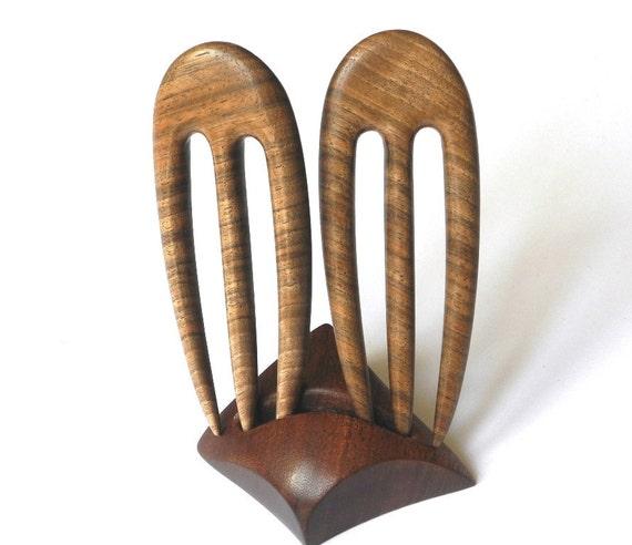 Wooden mini hair forks, 3 prong, Pair, Hair sticks, Wood, Walnut, Hairpin, Handmade