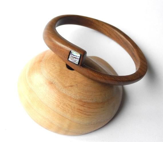 Wooden Bangle, Mother of pearl, Bracelet, Walnut, Handmade,Wood