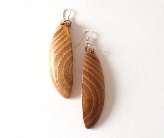 wooden earrings mulberry handmade wood