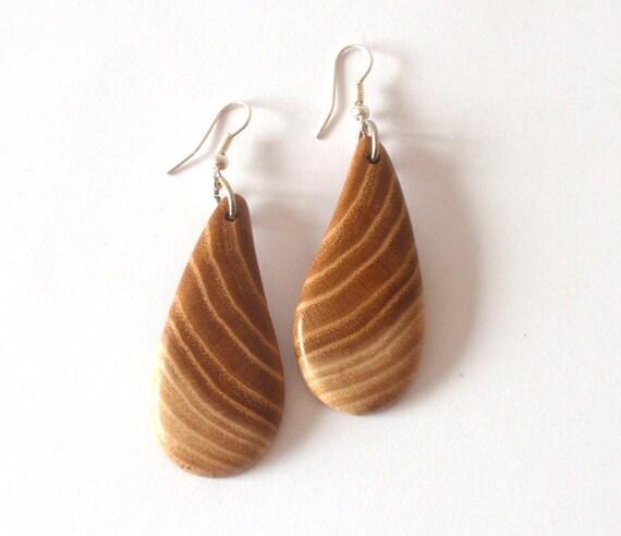 Wooden Earrings, Mulberry,Handmade, Wood