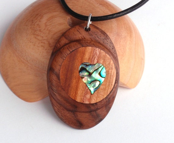 Wooden pendant, Mother of pearl,Walnut, Pear tree, Handmade, Necklace, Heart,