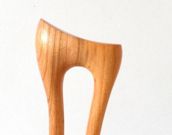 Wooden hair fork, 2 prong, Hair sticks, Wood, Plum tree, Hairpin, Handmade