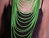 Lime and Light Green Upcycled Jersey Necklace