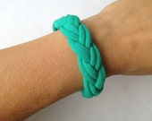 Summer Teal Upcycled Braided Jersey Bracelet