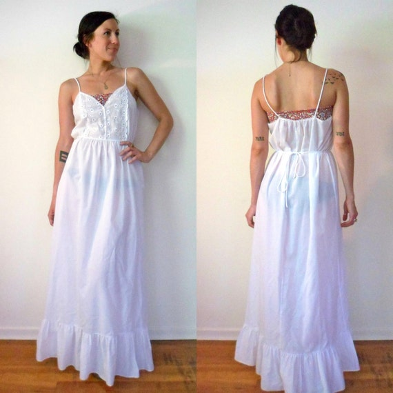 White Semi Sheer Eyelet Maxi Nightgown Dress