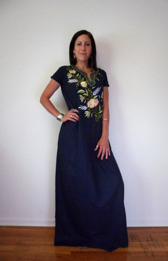 Embroidered Indian Hippie Maxi Dress