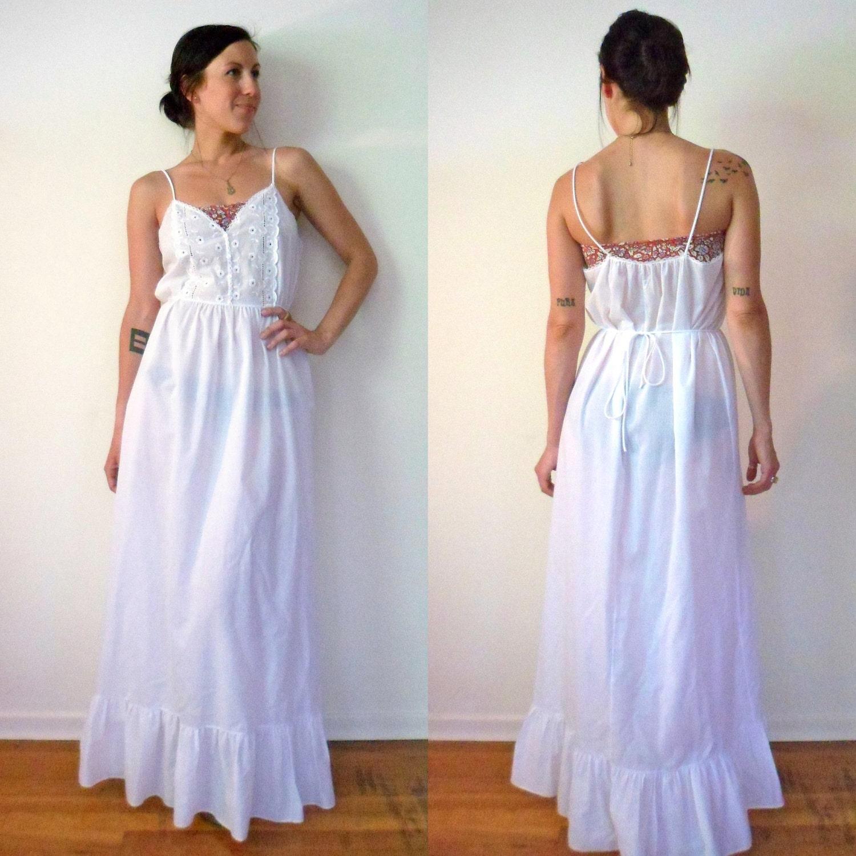 White Semi Sheer Eyelet Maxi Nightgown Dress