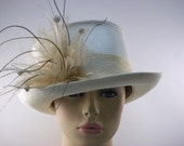 White Parasisol Straw Hat with Crinoline Band, Peacock Feathers, Knotted Buds