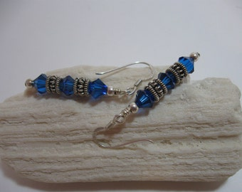 Blue Crystal & Silver Dangle earrings