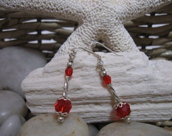 Red Crystal Silver Dangle Earrings