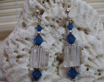 Clear 3 Sided Cane Bead and Blue Crystal Earrings